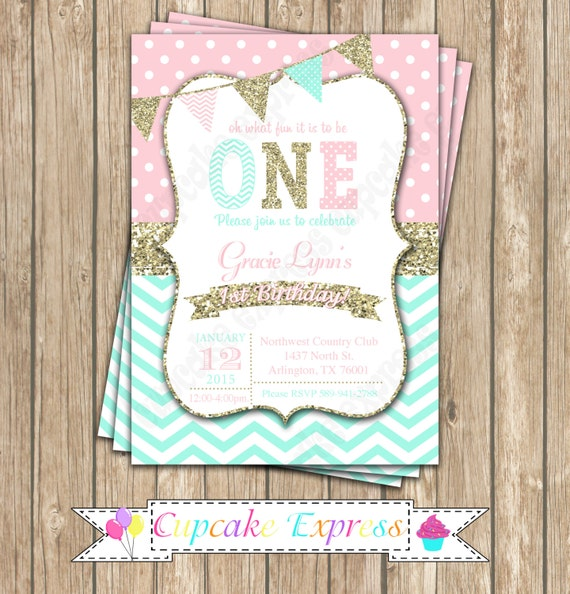 First Birthday Invitation Coral Pink Mint Gold Birthday Party - 1st birthday invitations gold and pink