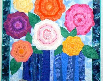 Quilted Wall Hanging with Appliqued Roses, Quilted Tapestry, Appliqued Art Quilt, Quilted Headboard, Wall Art Tapestry, Pieced  Flower Quilt