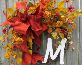 Monogram Fall Wreath, Wreath for Fall, Rust Yellow Fall Decor, Thanksgiving Wreath, Halloween Wreath, Fall Wreath with Letter