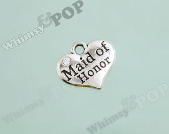 1 - Tibetan Silver Rhinestone Bridal Party Heart Tag Charms, Maid of Honor Charm, 16mm x 14mm ...