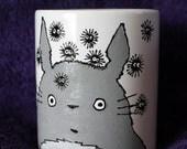 Totoro mug Tea / Coffee Hand Painted ceramic kustom manga anime kawaii ghibli lowbrow art
