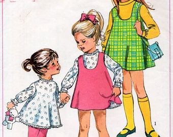 1960s Girls' A-Line Dress and Jumper Pattern Simplicity 7788 Child's Vintage Sewing Pattern Retro Dress Size 5