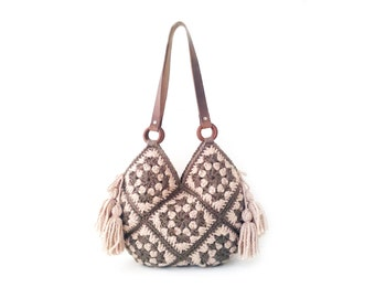 Rose sand crochet bag, real leather handles, large crochet bag, shoulder handbag, boho crochet bag, fancy crochet bag, genuine leather strap