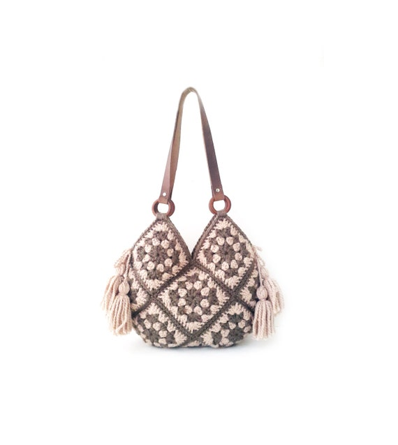 Leather Crochet Bag : Rose sand crochet bag, real leather handles, large crochet bag ...