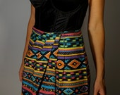 USA Vintage Skirt XS S Western Desert Boho Hippie Gypsy Grunge 90s does 70s Psychedelic Aztec Tribal Bohemian Hipster Mod Native Festival