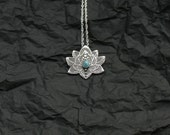 Lotus Necklace - Water Lily Necklace - Sterling Silver Flower Necklace - Turquoise Necklace - Heart Chakra Necklace
