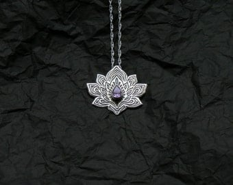 Lotus Necklace - Water Lily Necklace - Silver Lotus Necklace - Amethyst Necklace - Heart Chakra Necklace -