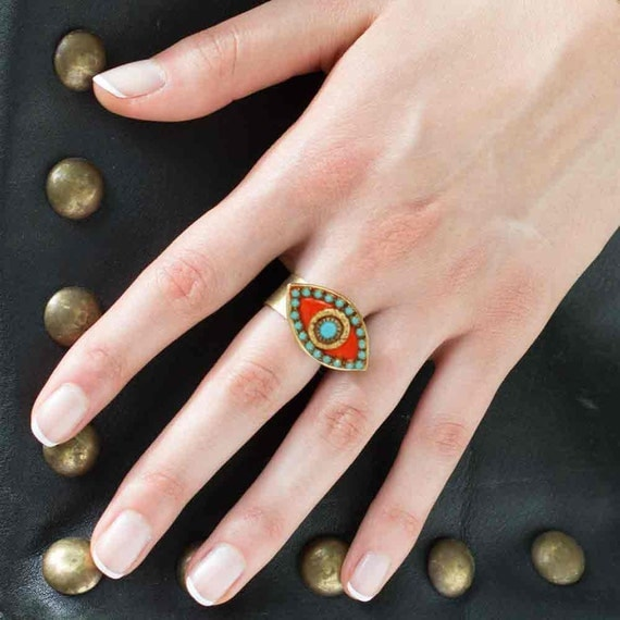 Michal Golan Turquoise, Gold and Coral Evil Eye Pendant Ring