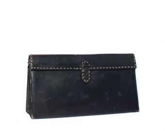 VTG Mark Cross Black Leather Clutch Evening Bag Handbag Purse