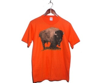 M | VTG Buffalo T Shirt Orange Graphic Tee Jerzees by Russell