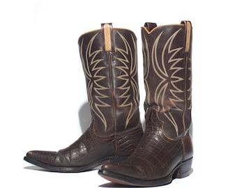 7 D | 1970's VTG Dan Post Brown Western Boots Alligator Embossed on Genuine Calf Cowboy Boots