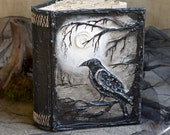 Special listing for Tim.  Personalized Crow  Magic book,  personalized guest book,  Crow book, Gothic wedding guest book