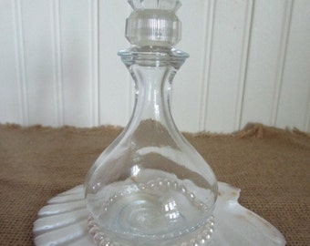 Art Deco Style Perfume Bottle, Vintage Clear Glass Perfume Bottle, Dressing Table Decor, Collectible Perfume Bottle,