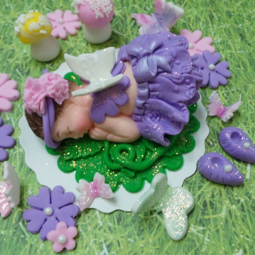 Baby Fairy Cake Topper set with Mushrooms BABY SHOWER Edible