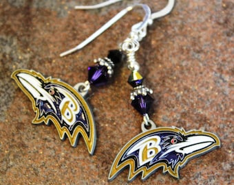 Baltimore Ravens Sterling Earrings | Ravens Jewelry | Maryland Sports Jewelry