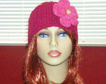 Adjustable Headband/Earwarmer with Flower - Magenta with Raspberry Pink Flower