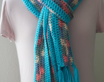 Turquoise Crochet Fringed Scarf