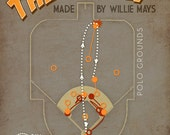 """Willie Mays Baseball Print """"The Catch"""" Infographic Baseball Poster in Grey, Brown, Orange, Yellow"""