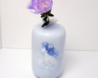 Victorian Vase, Vintage Rosenthal China Vase in Blue and White - Ethereal Silhouette and Cherubs Copenhagen R.C.