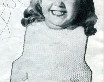 1940's Toddler Apron Bib Crochet Pattern Instant Download PDF