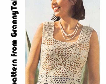 Boho Lace Summer Top 1970s VINTAGE CROCHET PATTERN, Lacy Sheer Suntop, Boho/Retro/Romantic Blouse,  Instant pdf from GrannyTakesATrip 0291