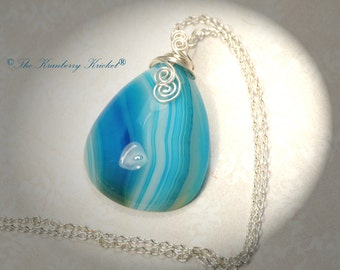 Ocean Blue Banded Agate Gemstone Necklace, Reiki Infused