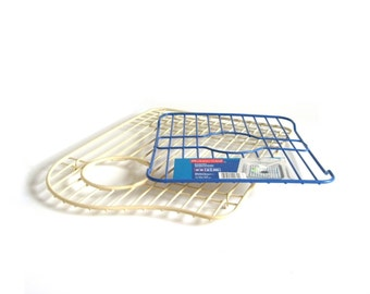 Rubbermaid Kitchen Sink Wire Rack Liner Vintage 1960s Ivory or 1990s Slate Blue Plate Saver