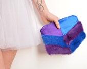 Purple blue wedding clutch bag, fur silk and Liberty One of a kind