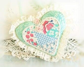Sachet Heart Ornament 6 inch  Ruffled Heart, Mint Green Batik Print Heart, Folk Art, Handmade CharlotteStyle Decorative Folk Art