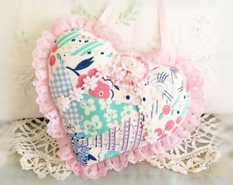Sachet Heart Ornament 6 inch  Ruffled Heart, Pink Mint Blue Retro Print Heart, Folk Art, Handmade CharlotteStyle Decorative Folk Art