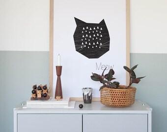 Art Print Poster - Meow ' 50x70 cm Modern Art Prints Wall Art Prints Geometric Poster Poster Kids room Posters Nursery room