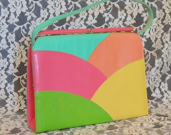 Vintage 1960's Kelly Handbag Purse, Gorgeous Multi-Colored Color Block