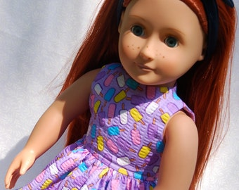 18 Inch Doll Clothes- Sleeveless Party Dress -  Lavender with Popcicles and Matching Tights - American Girl, My Generation Doll