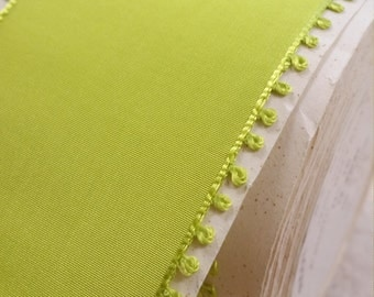 "2"" wide Vintage French Picot Edge Rayon Taffeta in light Vibrant Chartreuse  Lime  green"