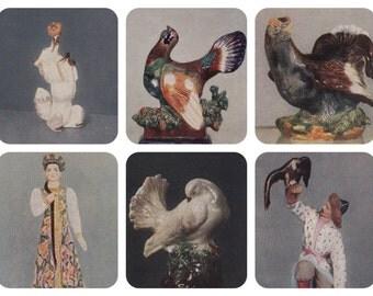 Russian Faience, Figurines. Set of 6 Photo Postcards -- 1953
