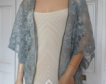 Grey lace kimono/jacket/wrap/cover-up/bolero with satin edging