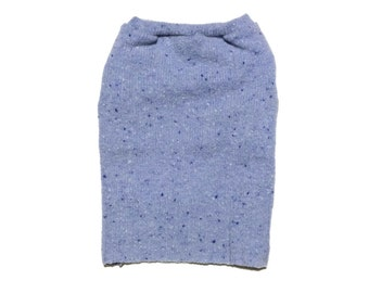 Designer Dog Sweater, Small Blue Speckled Wool Blend Knit, Pet Clothes ,Puppy Boutique 0076