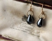 Small Black Earrings, Handmade Gold Earrings, Delicate Drop Earrings, Black Diamond Earrings, Everyday Earrings, Petite Earrings.