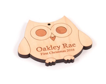 personalized owl ornament - Christmas gift for baby, toddler, or child, an eco-friendly stocking stuffer with organic finish