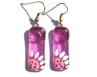 Glass Earrings, Purple Earrings with Sunflowers, Hand Painted Glass Jewelry, Purple Earrings with Sunflower, Silver Plated Earwires