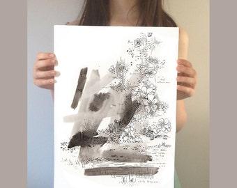 Original Illustration. The Selfish Giant. Childrens illustration. Ink painting original. Black and white painting. Original drawing