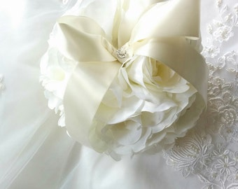 Flower Girl Pomander Ivory Kissing Ball - Ivory Silk Roses - silk Wedding Flowers