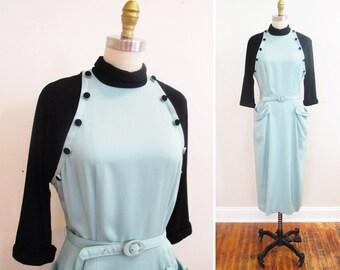 Vintage 1950s Dress | Black and Ice Blue Gabardine 1950s Wiggle Dress | size small - medium