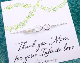 Mother of the bride gifts, mother of the groom gifts, message card with infinity bracelet gift set,  Mother's jewelry, mother in law gifts