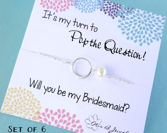 Bridal jewelry gift Set of 6: Six Bridesmaid cards with necklace, Bridesmaid gifts, bridesmaid thank you cards, bridesmaid necklaces