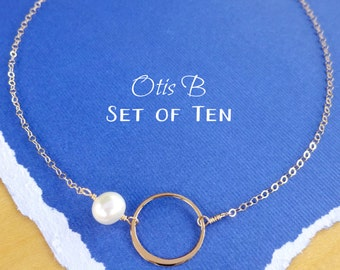Bridal Jewelry SET of TEN  gold eternity karma circle necklaces, Bridesmaid gifts, bridesmaid necklaces, Boxed gift sets, bridesmaid jewelry