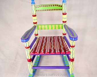 Hand Painted Child's Rocking Chair- Bright, Colorful and Fun! Sure to be an heirloom!