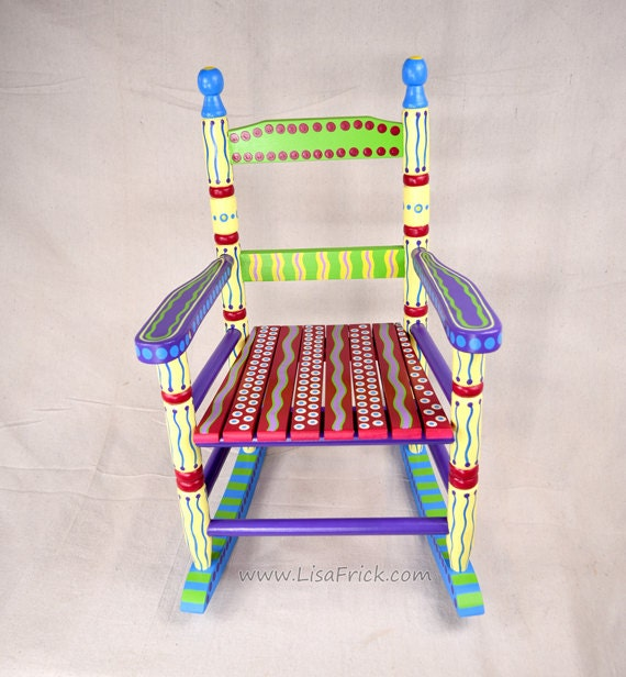 Hand Painted Childs Rocking Chair Bright Colorful and