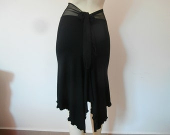 Argentine Tango  & Salsa Skirt amazing Fishtail black Size 0 to 8 with high Waist stretchy Lace  Dancewear Gothic Burlesque