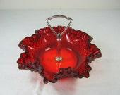 Vintage FENTON RUBY RED HOBNAiL Candy Dish Ruffled Rim Metal Handle Hobnails Nut Bowl